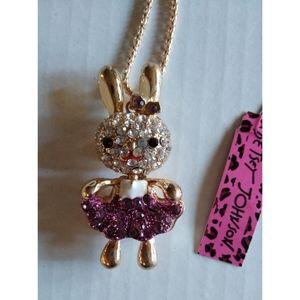 Betsey Johnson Sparkling Bunny Rabbit Necklace